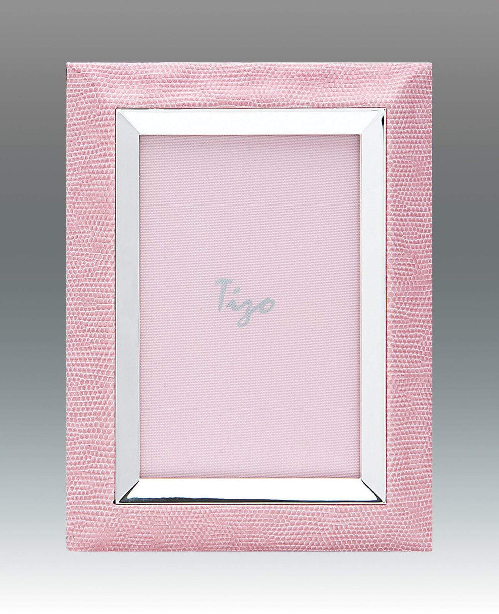 Tizo 4x6 Faux Lizard Frame with Silverplate, Pink