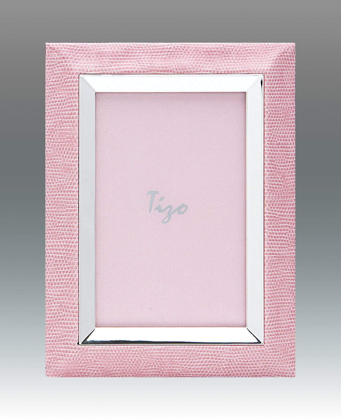 Tizo 4x6 Faux Lizard Frame with Silverplate, Pink - Extremely Low Stock