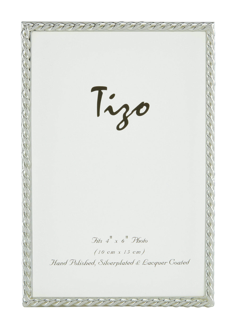 Tizo 4x6 Narrow Rope Border Silverplate Frame