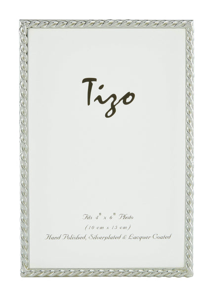 Tizo Designs Picture Frames Tizo 4x6 Narrow Rope Border Silverplate Frame