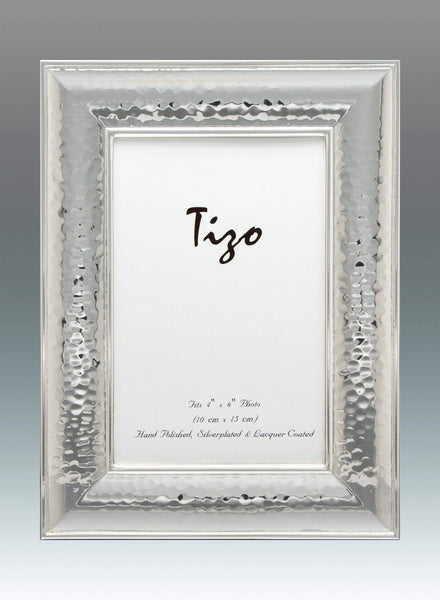 Tizo Designs Picture Frames Tizo 4x6 Wide Dimensional Hammered Silverplate Frame