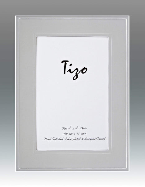 Tizo Designs Picture Frames Tizo 5x7 Flat Bevel Border Silverplate Frame (Satin Finish)