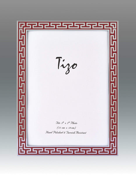 Tizo Designs Picture Frames Tizo 8x10 Greek Key Enamel Frame, Red