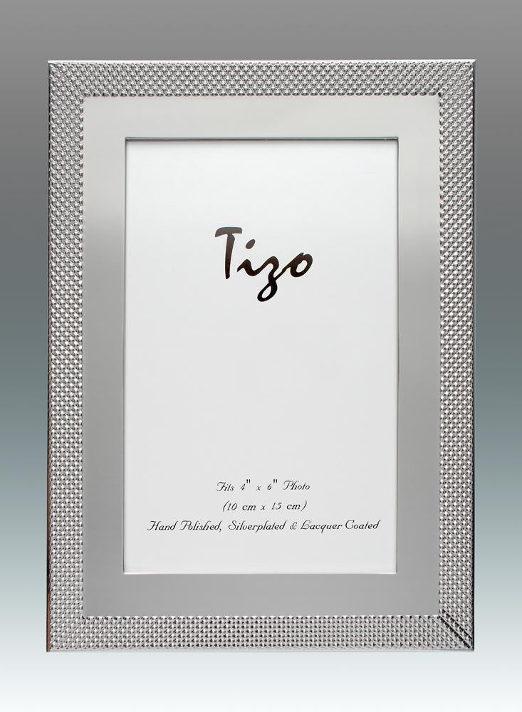 Tizo 8x10 Outer Narrow Mesh Border Silverplate Frame
