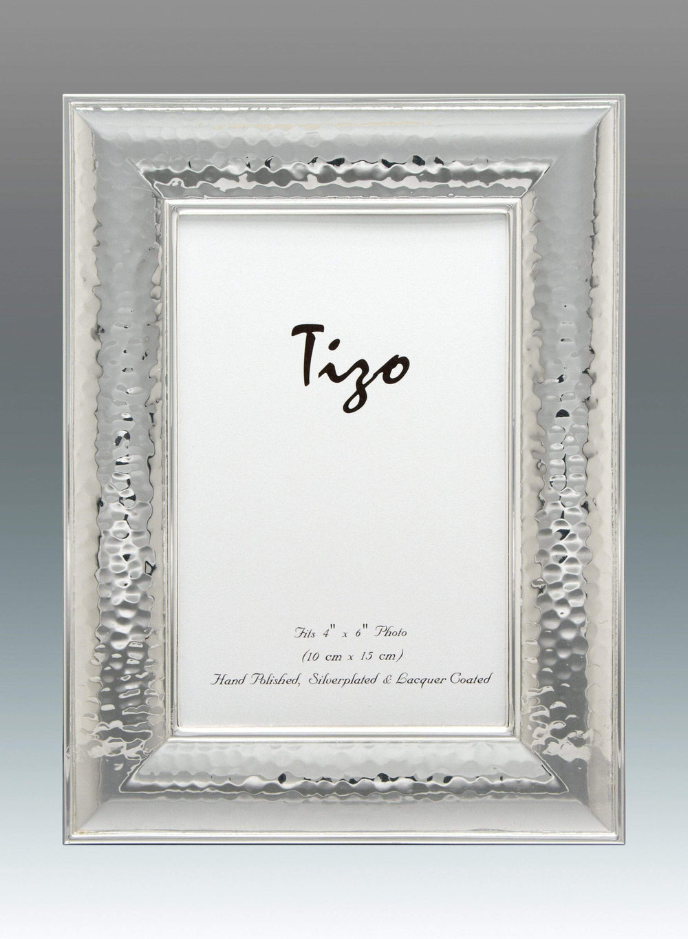 Tizo 8x10 Wide Dimensional Hammered Silverplate Frame