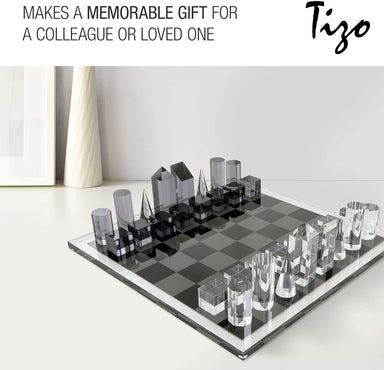 "Tizo Designs Giftware Tizo Lucite 17"" Chess Set - Clear & Smoke"