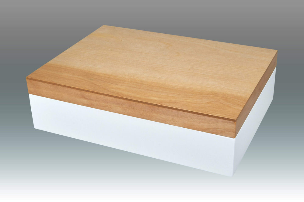 Tizo Two-Tone Natural Wood Empty Box, White - BLACK FRIDAY SALE