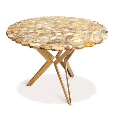 "Tozai Home Furniture Natural Agate 36"" Round Table with Gold Base by Tozai Home"