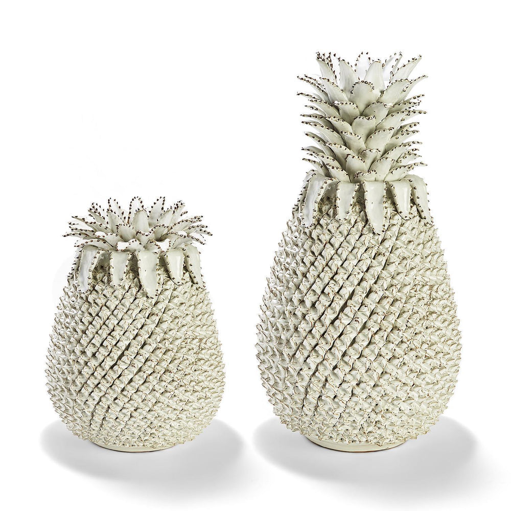 Tozai Home Pineapple Set of 2 White Sculpture/Vases