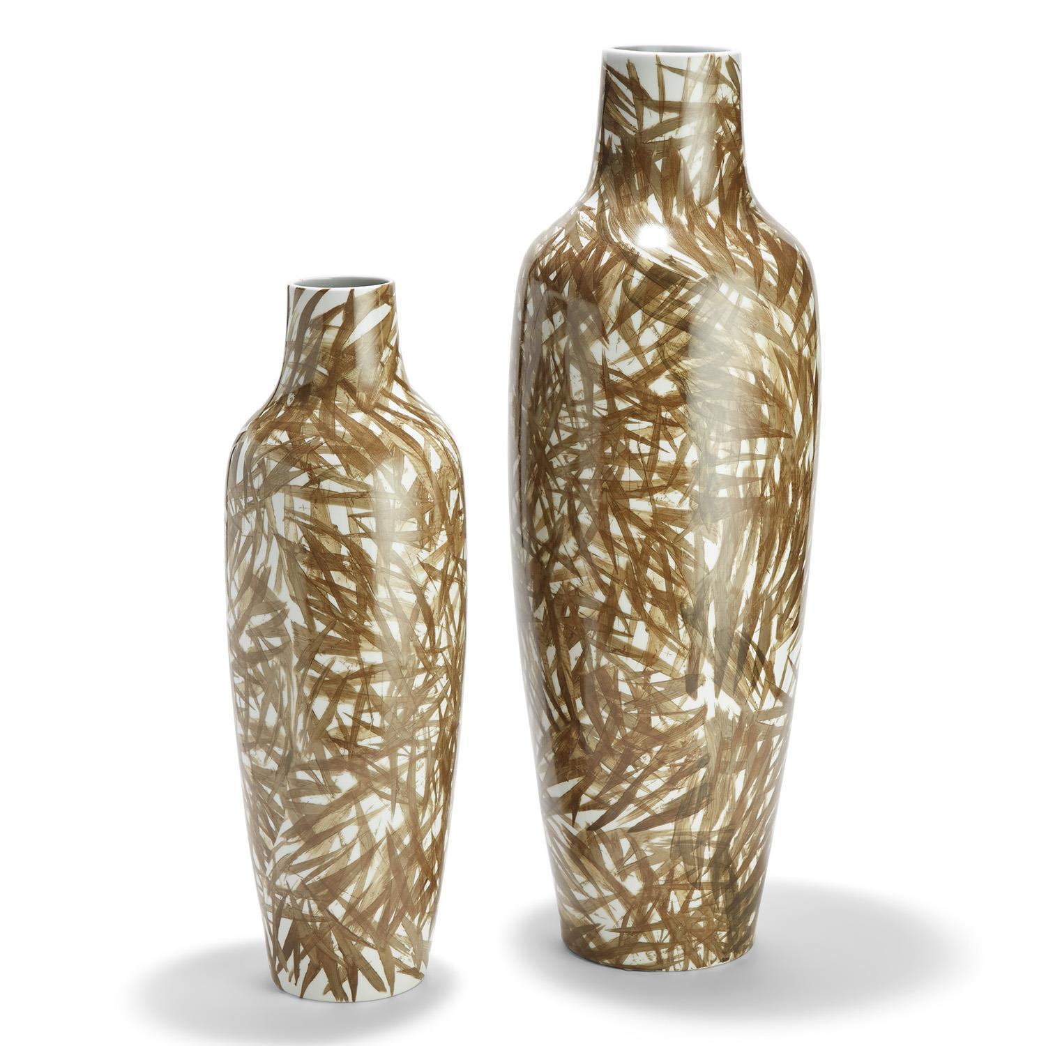 Tozai Home Shadow Palms S/2 Tall Vases