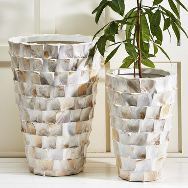 Tozai Home Home Tozai Home Tiles Set of 2 Extra Large Mother of Pearl Planters