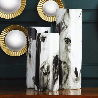 Tozai Home Home Tozai Home White Horses Tall Porcelain Vases - Set of 3