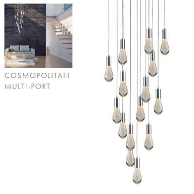 Viz Art Glass Lighting Chrome Cosmopolitan Chandelier - Bubbled Drop Glass 15 Pendant