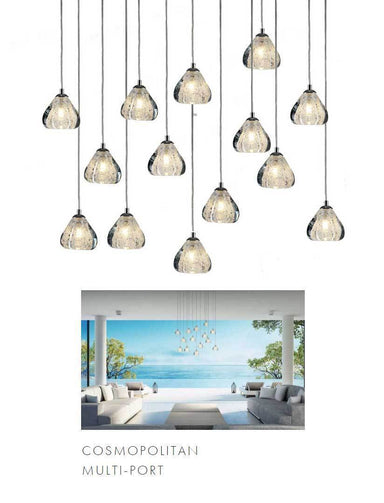 Viz Art Glass Lighting Chrome Cosmopolitan Chandelier - Clear Bubbled Triangle Glass 14 Pendant