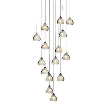 Viz Art Glass Lighting Chrome Cosmopolitan Chandelier - Clear Bubbled Triangle Glass 15 Pendant