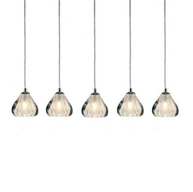Viz Art Glass Lighting Chrome Cosmopolitan Chandelier -Clear Bubbled Triangle Glass 5 Pendant