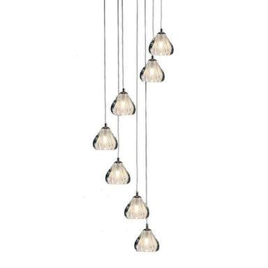Viz Art Glass Lighting Chrome Cosmopolitan Chandelier - Clear Bubbled Triangle Glass 7 Pendant