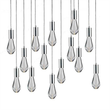 Viz Art Glass Lighting Chrome Cosmopolitan Chandelier - Clear Drop Glass 14 Pendant