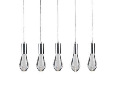 Viz Art Glass Lighting Chrome Cosmopolitan Chandelier -Clear Drop Glass 5 Pendant