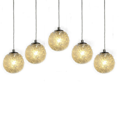 Viz Art Glass Lighting Chrome Cosmopolitan Chandelier - Clear Snowball Glass 5 Pendant