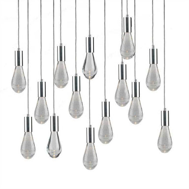 Viz Art Glass Lighting Chrome Cosmopolitan Chandelier - Crackled Drop Glass 14 Pendant