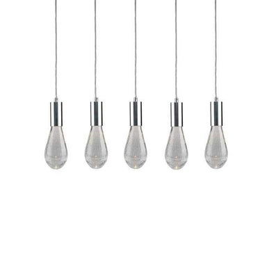 Viz Art Glass Lighting Chrome Cosmopolitan Chandelier - Crackled Drop Glass 5 Pendant