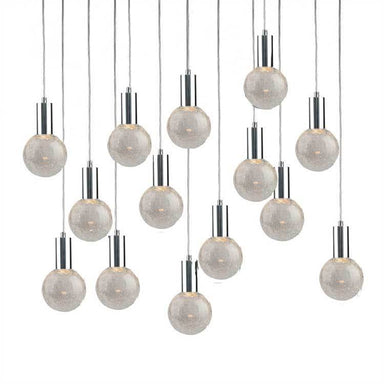 Viz Art Glass Lighting Chrome Cosmopolitan Chandelier - Crackled Round Glass 14 Pendant