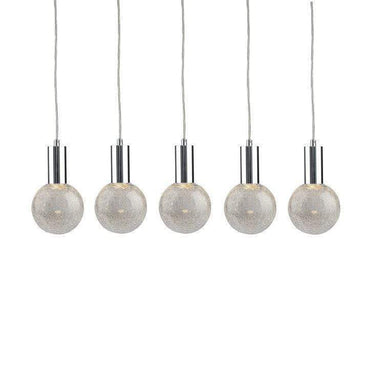 Viz Art Glass Lighting Chrome Cosmopolitan Chandelier - Crackled Round Glass 5 Pendant