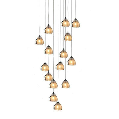 Viz Art Glass Lighting Chrome Cosmopolitan Chandelier - Seeded Gold Triangle Glass 15 Pendant