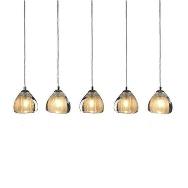 Viz Art Glass Lighting Chrome Cosmopolitan Chandelier -Seeded Gold Triangle Glass 5 Pendant