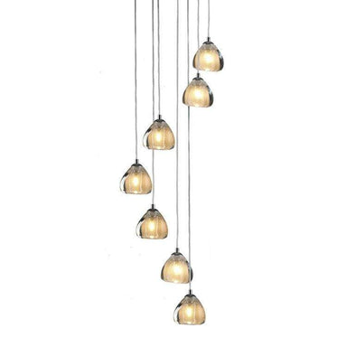 Viz Art Glass Lighting Chrome Cosmopolitan Chandelier - Seeded Gold Triangle Glass 7 Pendant