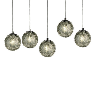 Viz Art Glass Lighting Chrome Cosmopolitan Chandelier - Smoke Grey Snowball Glass 5 Pendant