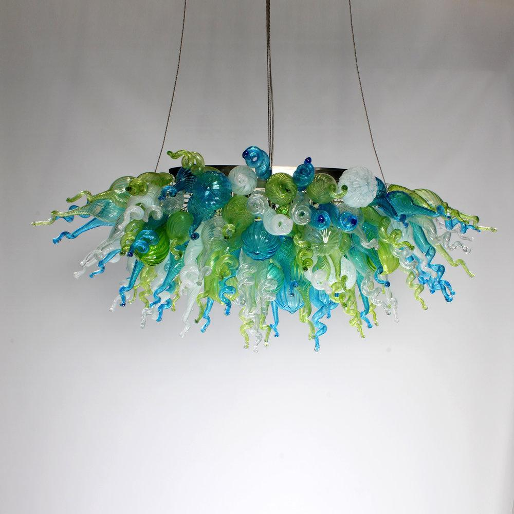 Viz Art Glass ColorSelect Linear Chandelier Mini Ocean Mist