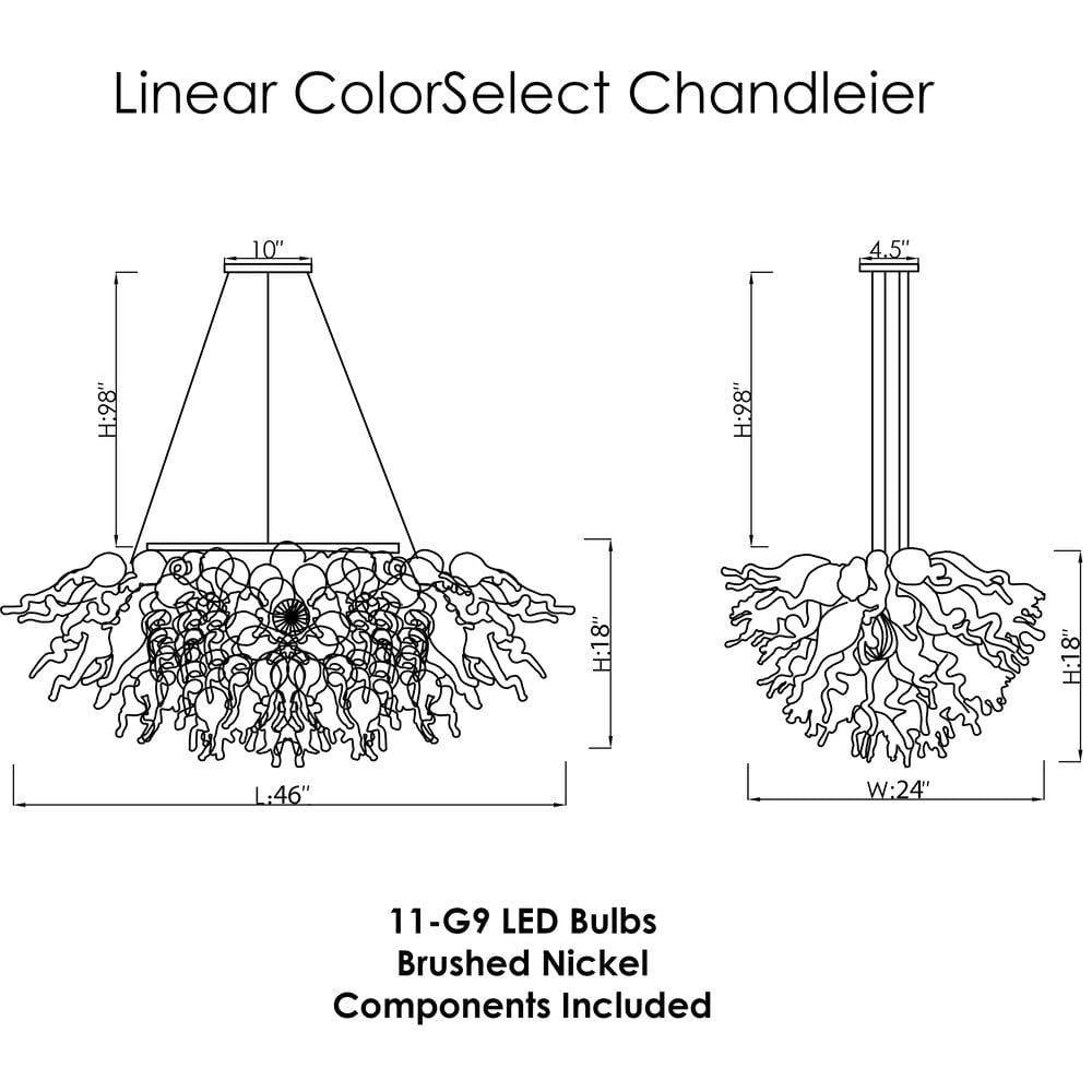 Viz Art Glass ColorSelect Linear Chandelier Waterfall