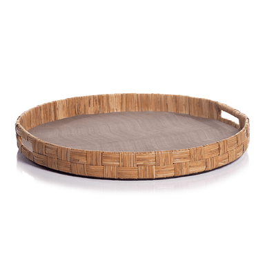 Zodax Home Agrari Abaca Silk Woven Cane Round Tray - Taupe