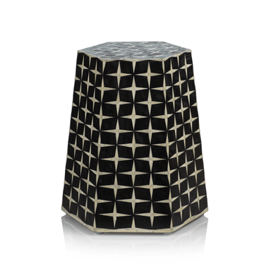 Zodax Home Rate to be Quoted Kasbah Bone Inlay Hexagon Stool