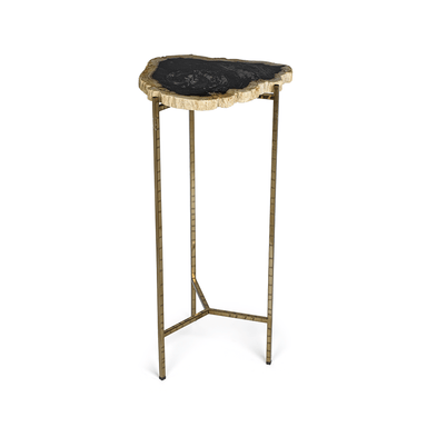 Zodax Home Porto Alegre Petrified Wood Side Table - Tall