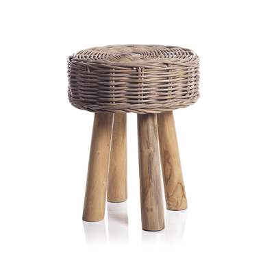 Zodax Home Rattan and Teakwood Stool
