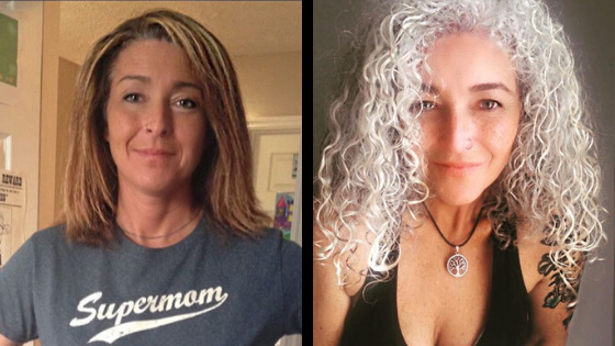 Photo of woman before and after growing out gray hair