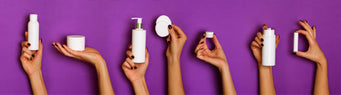 Hands Holding Personal Care Products on Purple Background