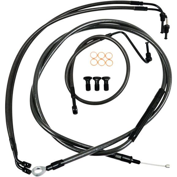 "2014-2016 Street/Electra/Ultra Glide Cables NO ABS & Cable Clutch 15-17"" Black Braided"