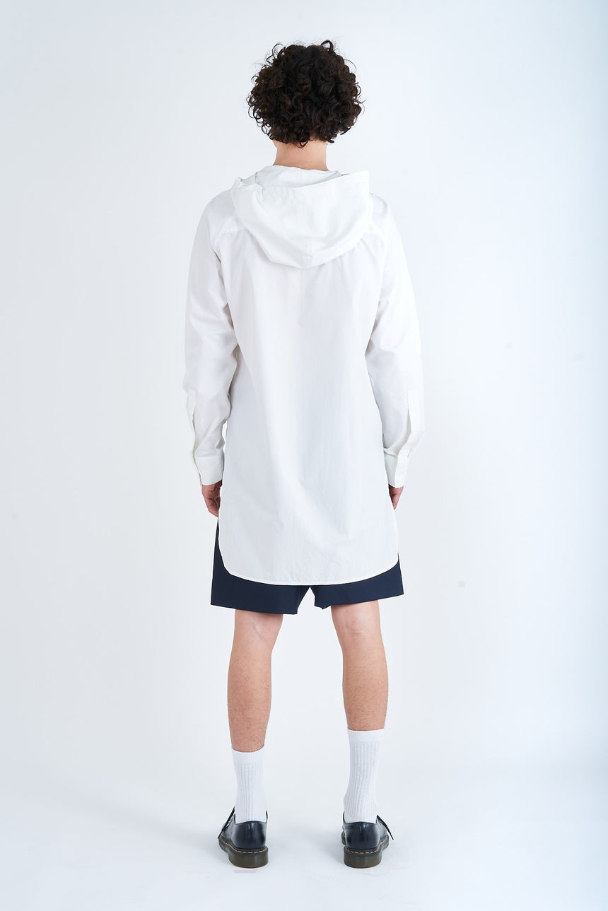 Hooded Shirt Popeline White