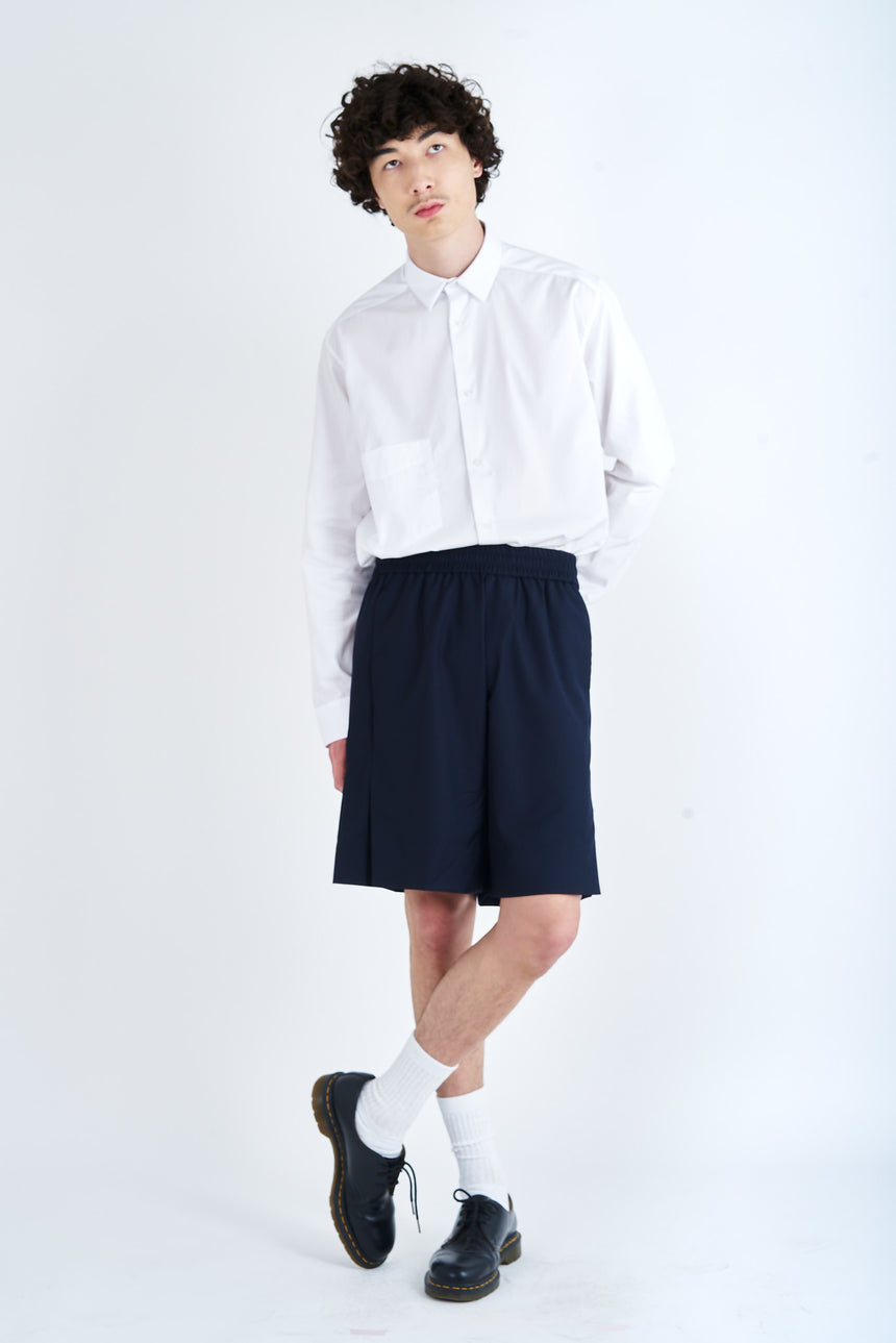 Elastic Slit Shorts Wool Navy