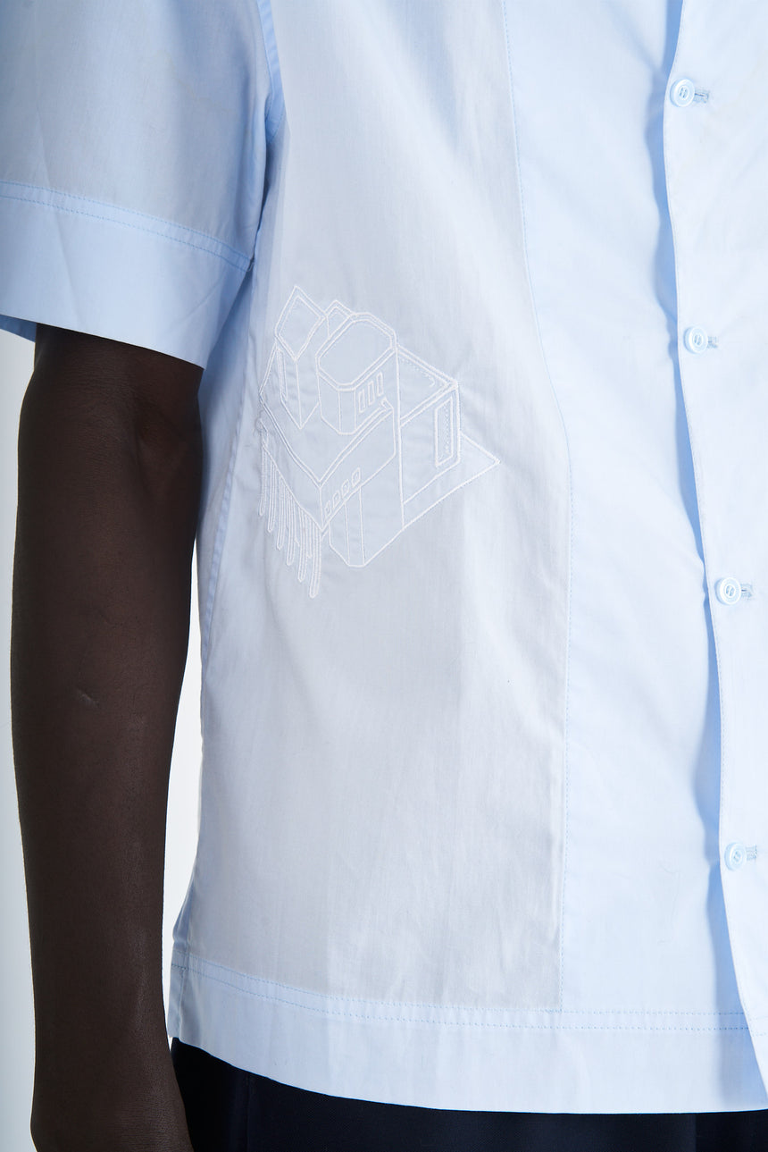 Short-sleeved Shirt Light Blue Broderie