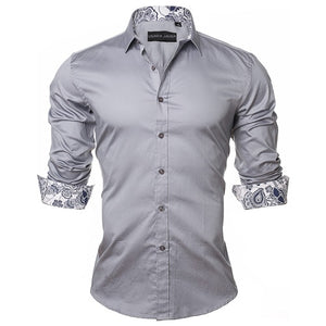 2019 New Arrivals Fashion Shirt 100% Cotton Grey| 2019 Chemise à manches longues 100% Coton Grise