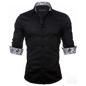 2019 New Arrivals Fashion Shirt 100% Cotton Black | 2019 Chemise manches longues 100% Coton Noir