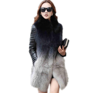 Winter Women Faux Fox Fur Jacket Female Long Coat New Autumn Outerwear Fur Vests Fashion Luxury Peel Jacket (Sleeves Detachable)