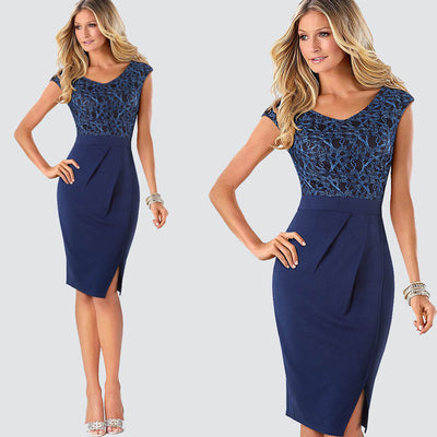 Elegant Office dress Flower Lace Patchwork | Robe de bureau fendue en dentelle Patchwork
