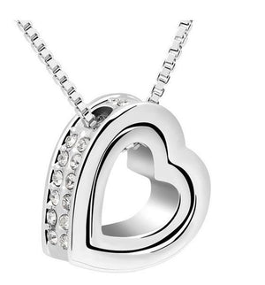 Double Heart Pendant - White Gold