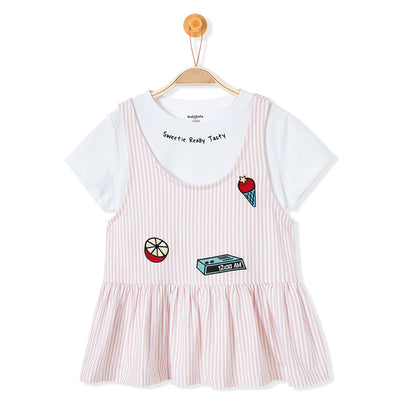 Set 2PCS T-shirt Tops+dress 100% cotton